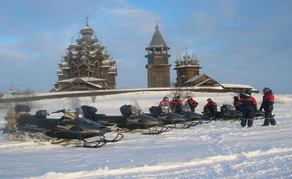 На остров Кижи - на снегоходах